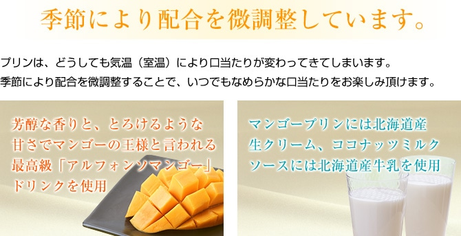 季節によって配合を微調整するマンゴープリン