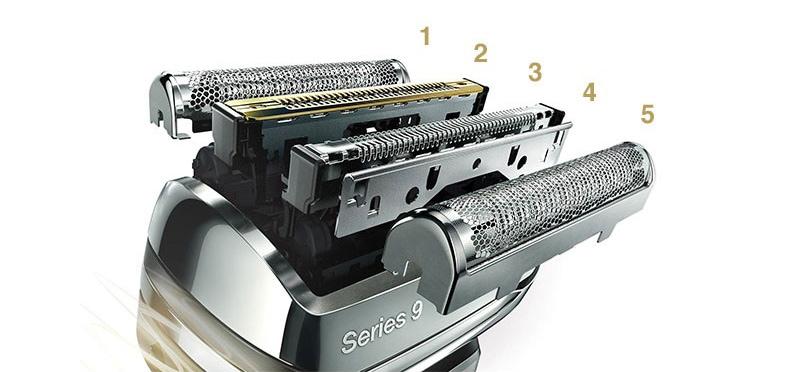 異なる5つの機能を持つカットシステムが、一度でヒゲを剃りきる。