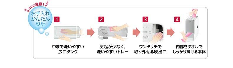 中まで洗いやすい広口タンクや内部をタオルでしっかり拭ける本体など