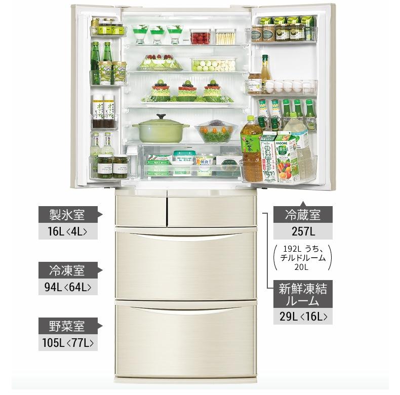 冷蔵室257L 製氷室16L 冷凍室94L 新鮮凍結ルーム29L 野菜室105L