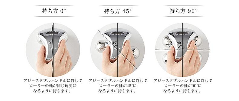 アジャスタブルハンドルに対してローラーの向きを45°刻みで持ち変えることができます。