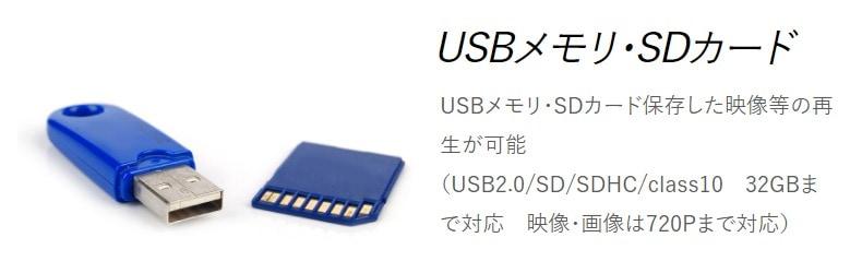 USBメモリ・SDカード対応
