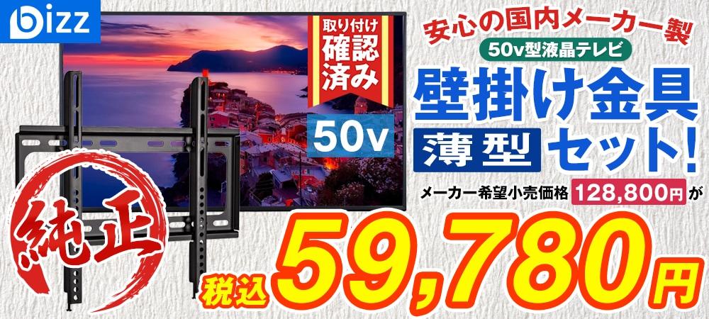 bizz 50V型 3波デジタルハイビジョン液晶テレビ(外付けHDD録画対応) HB-5031HD 【壁掛け金具XD2361】セット HB-5031HD-SET1
