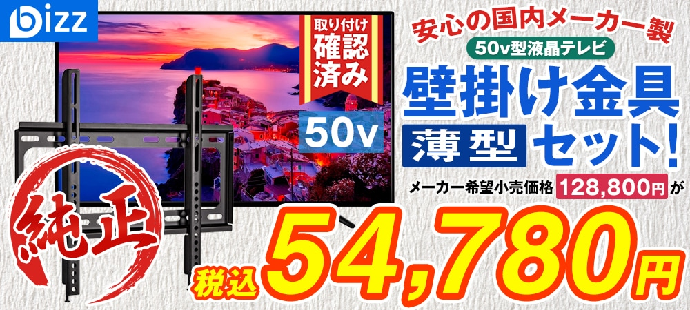 bizz 50V型 3波デジタルハイビジョン液晶テレビ(外付けHDD録画対応) HB-5032HD 【壁掛け金具XD2361】セット HB-5032HD-SET1