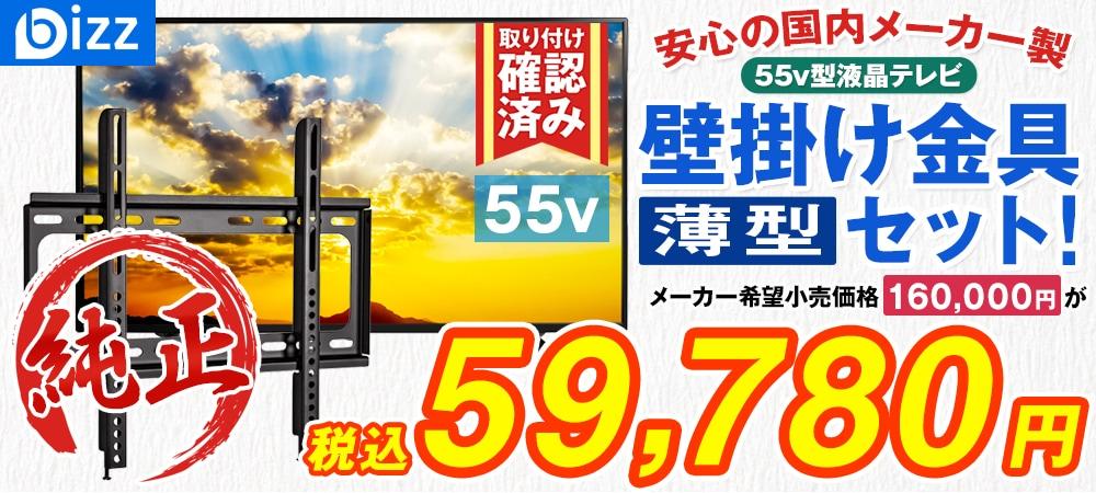 bizz 55V型 3波デジタルハイビジョン液晶テレビ(外付けHDD録画対応) HB-5531HD 【壁掛け金具XD2361】セット HB-5531HD-SET1