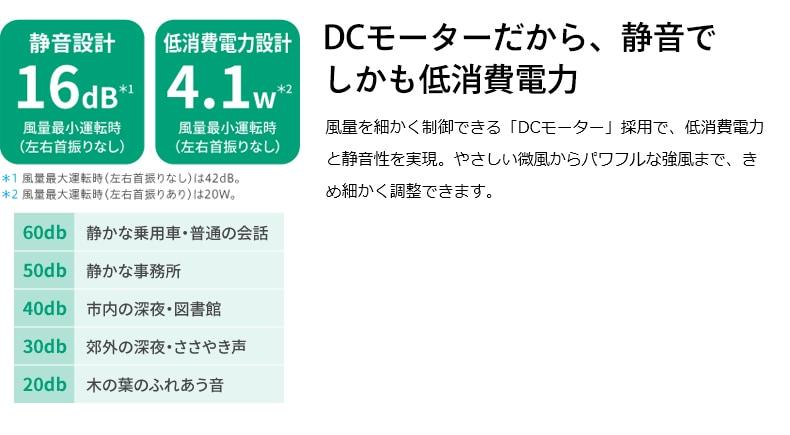 DCモーターだから、静音でしかも低消費電力