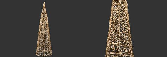 35cmグリッターワイヤーメッシュコーン