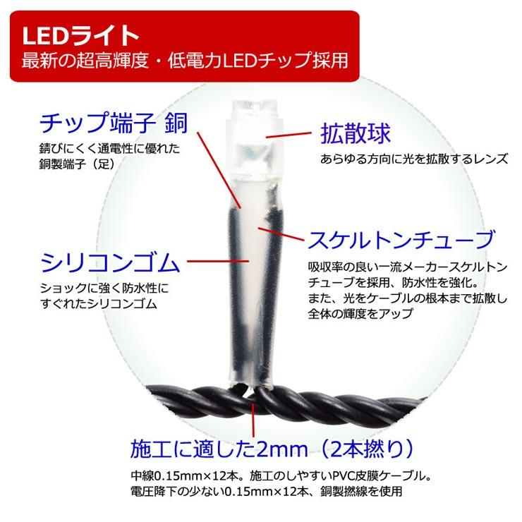 マテリアル2芯ハイスペック100球LEDストリングライト