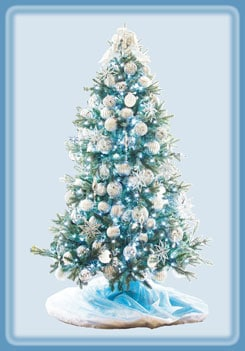 銀のオーナメントが白銀の世界を思わせる、八芒星(オクタグラム)のツリー