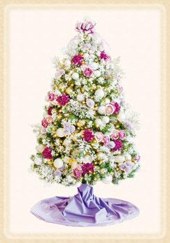 ラナンキュラスやダリアなど造花がついたロマンチックな大人のツリー