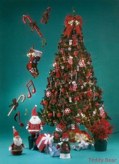 キャンディや赤いボールを基調としたツリーです。