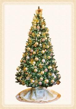 スモーキーカラーのボールが落ち着いた雰囲気で十字架を思わせるオーナメントのついた大人っぽいツリー