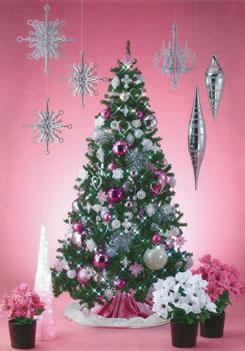 ピンクのオーナメントとハートがラブリーで可愛いツリー