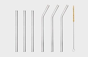 HALM ハルム社 ガラスストロー 6pcs Aセット : カーブ23cm × 3、ストレート 20cm × 3