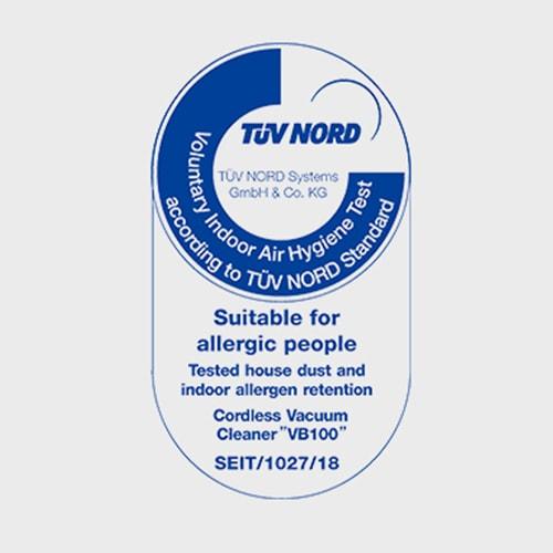 コードレスクリーナーVB100は「アレルギー患者推奨商品」のTUV(ドイツ技術検査協会)の推奨商品です