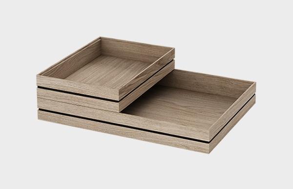 MサイズとSサイズをスタキングする事で小物を下段と上段に分け立体的に収納する事が出来ます