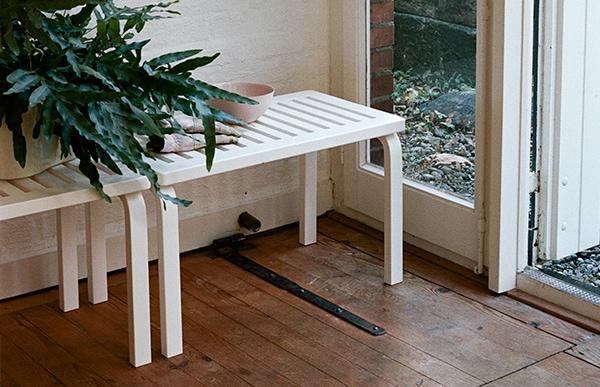 北欧 artek/アルテック/アアルト/木製ベンチ 153B/ホワイ ト [木製ベンチは北欧artek アルテック/153B]