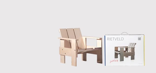 オランダ/組み立て 子供椅子・キッズチェア/リートフェルト/クレイトチェアJr/ブルー [子供椅子・キッズチェア 組み立て式/シリアルNo入]