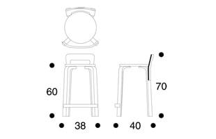 北欧 artek/アルテック/アアルト/K65カウンターチェア/ラミネート白 [カウンターチェアは北欧artek アルテックK65]