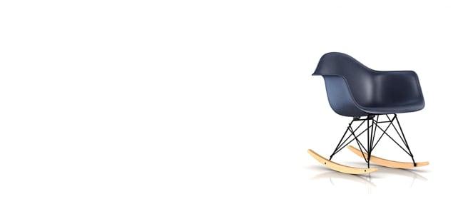 【正規保証5年】ハーマンミラー社 イームズ FRPシェルチェア ロッカーベース アームチェア ベース:ブラック(ネイビーブルー×メープル)