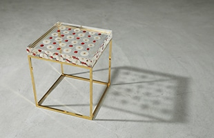 Sola cube Side Table Checkerboard Gold