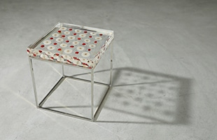 Sola cube Side Table Checkerboard Silver
