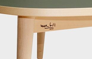 Wohnbedarf ヴォーンベダルフ Max bill マックスビル スリーラウンドテーブルにはMaxbillの刻印が施されています