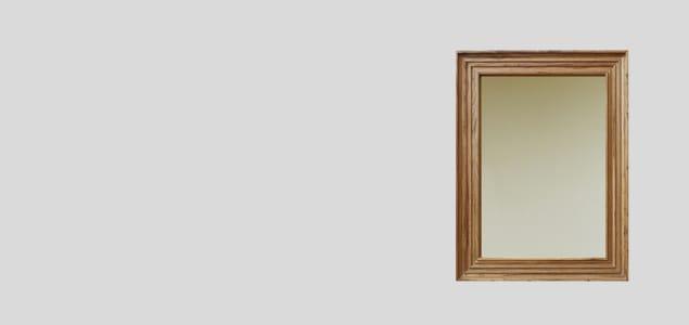 RetRe リツリ/虫喰い木材の壁掛けミラー A4