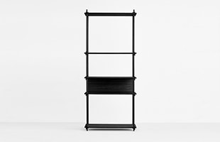 MOEBE SHELVING SYSTEM Single H200cm ブラック