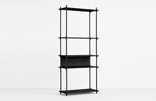 MOEBE SHELVING SYSTEM Single H200cm ブラック イメージ