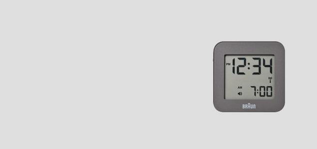 BRAUN/デジタル アラームクロック・目覚まし時計/電波時計bnc008GYGY グレー