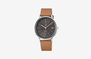 Riki Watch/AKPD023/シンプルモダンソーラー/グレイ×ブラウン