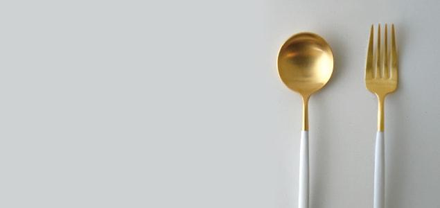 cutipol クチポール/GOA ホワイト×ゴールド/ディナーフォーク [ カトラリー/ディナーフォークはcutipol/クチポール/goa/ホワイト×ゴールド ]