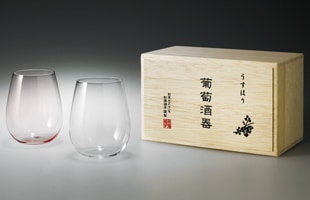 松徳硝子/うすはりグラス/ワイングラス ペア/ボルドー 2個セット/木箱入 [ 結婚祝い・初任給のプレゼントに ]