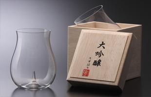 松徳硝子/うすはりグラス/日本酒 グラス/大吟醸 木箱入[うすはりグラス/日本酒 グラス/大吟醸は松徳硝子]