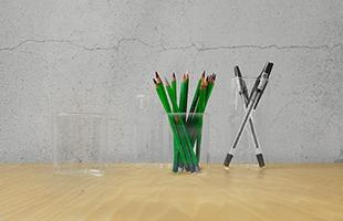 ペン立てや小物入れとして机の上に置いても安心して使えます