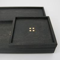 秀衡塗/HIDEHIRA/正方形プレートL 黒/角皿 茶托 スクエア