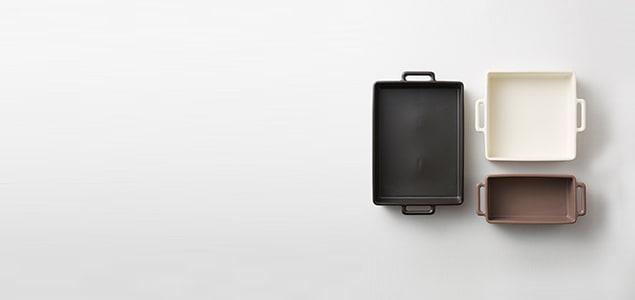あらゆる熱調理器具で使えておいしい一品ができる便利なグリル皿。