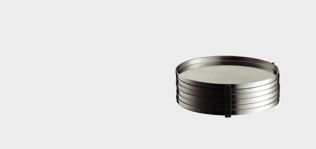 stelton ステルトン/ヤコブセン Cylinda-Line/グラス コースター/ステンレス6枚セット [コースター/ステンレスはstelton ステルトン]