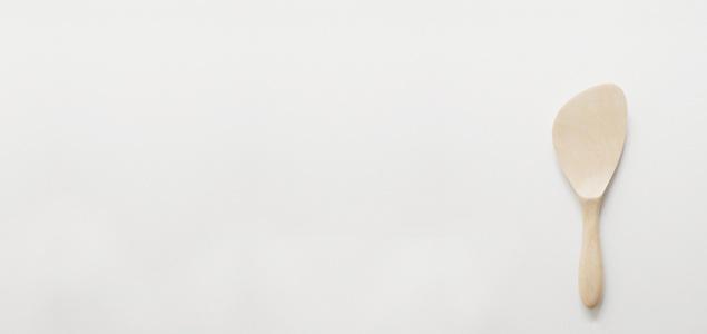 宮島杓子(しゃもじ)/丸柄ナナメ 杓子/本桜  [ 杓文字 木 ]