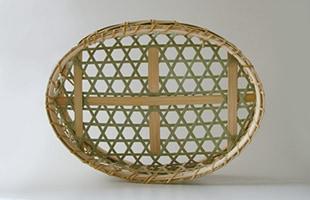 国産 真竹 椀かご 楕円型 底面は補強がされています