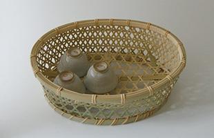 国産 真竹 椀かご 楕円型 底上げがされています