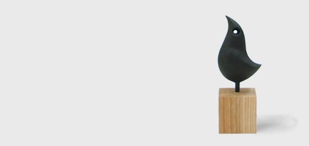 南部鉄器/釜定/魚・鳥/オーナメント・オブジェ・置物/木台付[魚・鳥/オーナメント・オブジェ・置物は釜定]