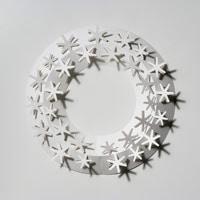 クリスマスリース ホワイト/paper wreath/月桂樹 M [クリスマスリース/ホワイトはchiori design ペーパーリース]