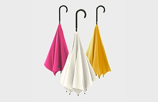 プラスディー アンブレラ 傘はピンク、ホワイト、イエロー、ライトブルー、ネイビー、ターコイズの6色展開です