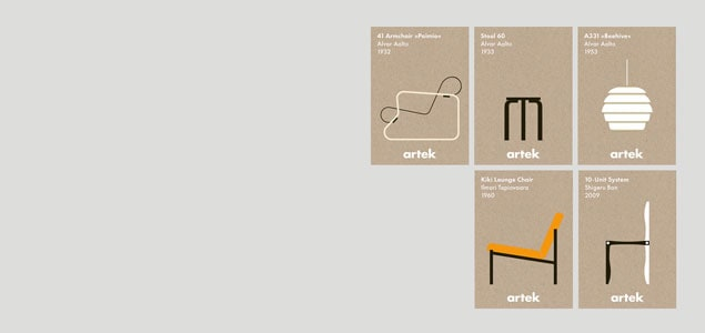 artek/アルテック/アアルト/アイコンカードセット/5枚セット [アアルト/カードセットはartek/アルテック] 【ネコポス対応可】[ネコポス便 1/8]
