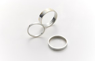 gold wedding ring k18 Square 2mm×1mm / Square 3mm×1mm / Square 5mm×1mm 比較画像