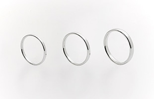 gold wedding ring k18 Oval 2.5mm / Oval 2mm / Oval 3mm 比較画像