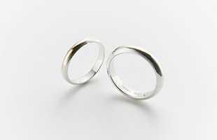 gold wedding ring k18 Half round 3mm / Half round 4mm 比較画像