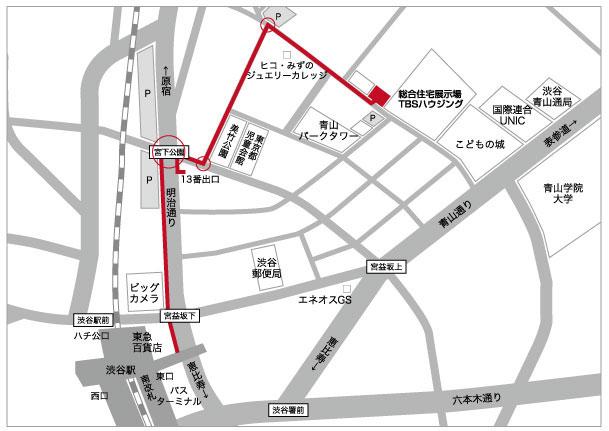 渋谷駅からの地図
